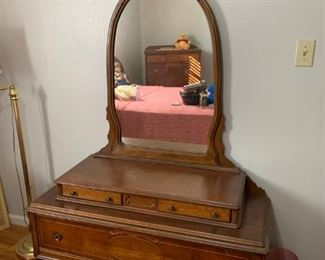 #12		3 drawer Antique Dresser on wheels dovetailed 48x19x68  (2 pcs)	 $175.00