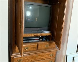 #13		Kimball Oak Armoire/Entry. Center w/slide-back doors & 5 drawers  41x22x75	 $75.00