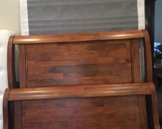 Solid wood queen sleigh bed - headboard, footboard, and frame