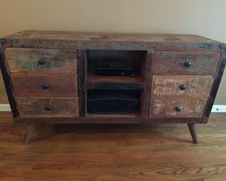 Unique solid wood TV console