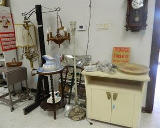 Wood chest, light fixtures, vintage clock