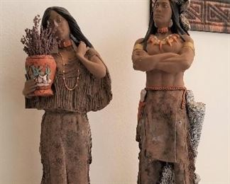 Tall Native American woman and man. Great entryway pieces that make a statement.