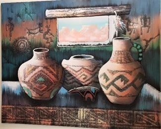 Another incredible piece of art with pottery and kokopellis.