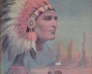 Beautiful buffalo and Indian chief, tepee and mountains Native American Art.