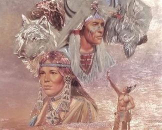 What can I say...yet another beautiful piece of Native American art. Look at the eagle in the sky and the horse in the foreground.