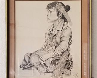 Signed Young Native American girl and rabbit. Great black and white ink drawing.