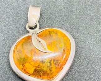 """Vintage 1.25"""" x 1.25"""" Amber Stone Wrapped In .925 Sterling Silver Pendant.   $40.00"""