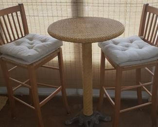 Cafe bistro wicker table and 2 chairs