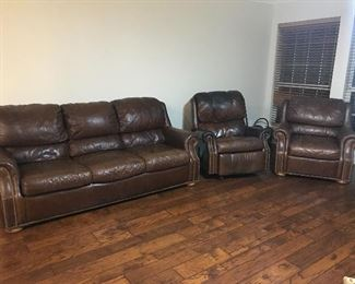 Haverty's - leather sofa, recliner and chair