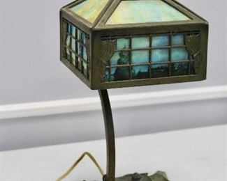 Signed Bradley & Hubbard desk lamp with ink wells.