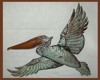Painted Copper Pelican Sculpture