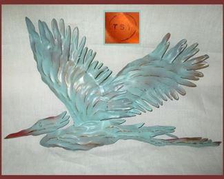 Marked Painted Copper Bird Sculpture