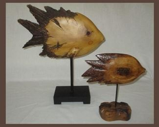 Pair of Carved Wooden Fish