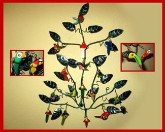 Really Cute Metal Sculpture with Hand Painted Wooden Birds