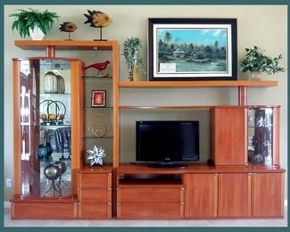 Just a Stunning Wall Unit with Convex Glass on Both Display Cabinets. Can Accommodate a Much Larger TV when used as an Entertainment Center or just use it for Displaying all your Favorite Things!