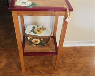 Hand Painted Table & Basket