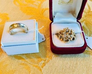 14K Gold Cluster Ring with 3 Diamonds