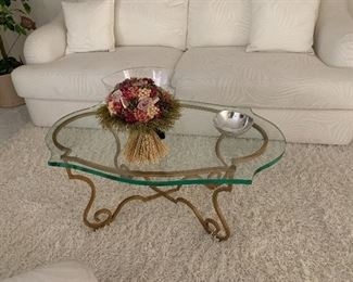 Small coffee table with 1inch glass and sturdy wrought iron.