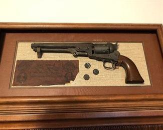 Replica handgun, old coins and confederate money