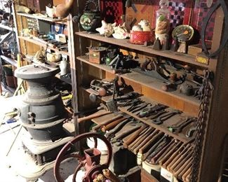 Model t tools among hundreds of wrenches, saws, etc.