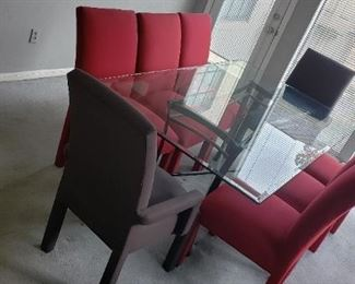 Formal Dining Table, Charcoal Gray and Crimson