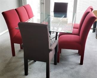 Red and Gray formal dining set, very good condition