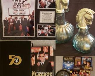 The Rat Pack wall art, Playboy Book Lot, Hugh Heffner, Horse Head Decanters