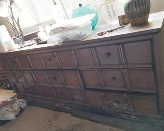 Solid wood dresser  Needs tlc $40!