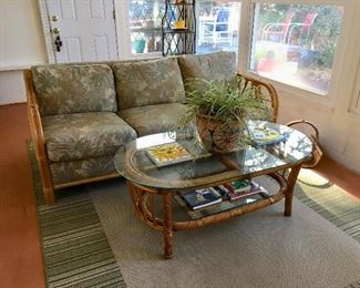 Rattan Sofa & Coffee Table