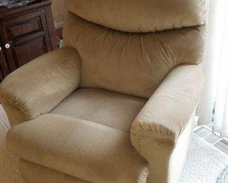 tan cloth LaZBoy recliner