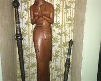 large wood statue