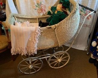 "Antique baby buggy with the ""Christmas Cabbage Patch"" fool in tow!"