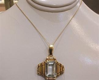 18k and Aqua Stone Necklace