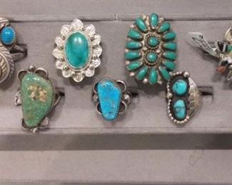 Turquoise abd Coral Ring Collection