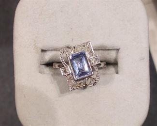 Antique Aqua and Diamond in Gold Ring
