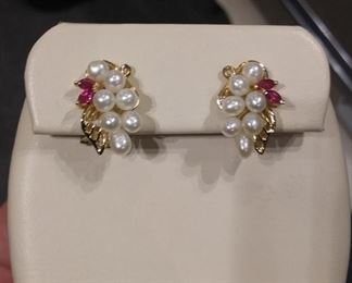Pearl and Ruby Earrings in Gold