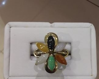 Multi Colored Jade Ring in Gold
