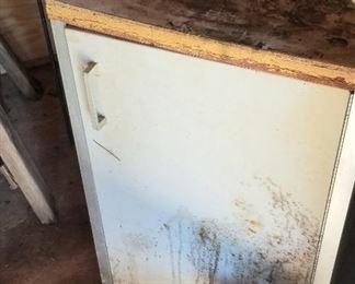 Vintage metal work cabinet with storage