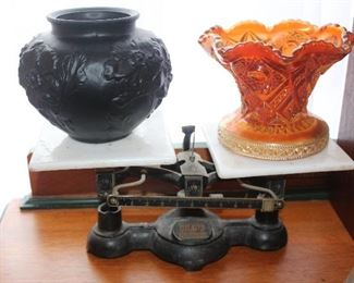 Scale with amethyst glass bowl, carnival glass