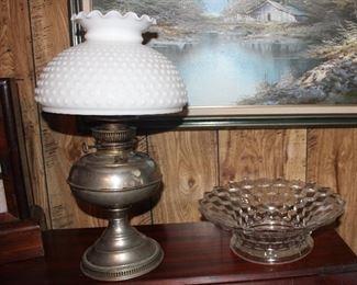Oil lamp, American Fostoria bowl
