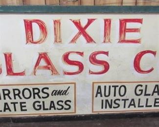 "73"" Framed Metal Double Sided Dixie Glass Co. Sign"