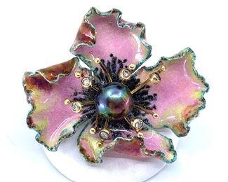 Russell Trusso Enamel, diamond & pearl brooch