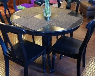 Dining table 5 pc. set on pedestal with black finish