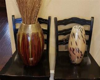 Two bar stools w/back black finish; decorative vases