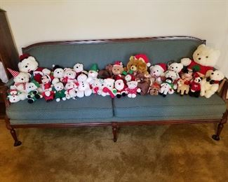 Extended Sofa with Christmas Stuffed Animals
