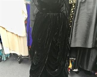 1950's Black velvet ball gown!