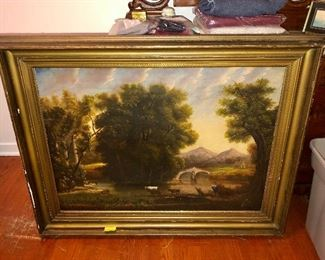 19th century oil on canvas painting of cows and river, possibly Hudson River School...still trying to ID the artist
