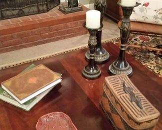 A  look at the top of the Lane coffee table  and the items on it.  The woven box is very old.