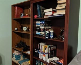 2 bookshelves and books.