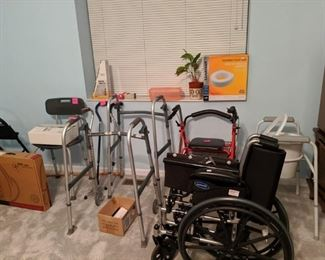 Wheel chair, rolling walker, 2 walkers, crutches, shower seat, canes. Alot of medical equipment
